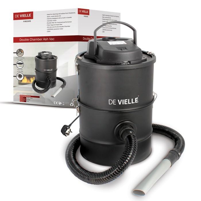 De Vielle Double Chamber- 3 Filter Ash Vac 25Litre 1200W